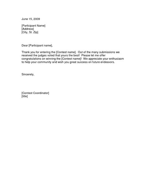 cover letter for writing contest best photos of exles of notification letters sle