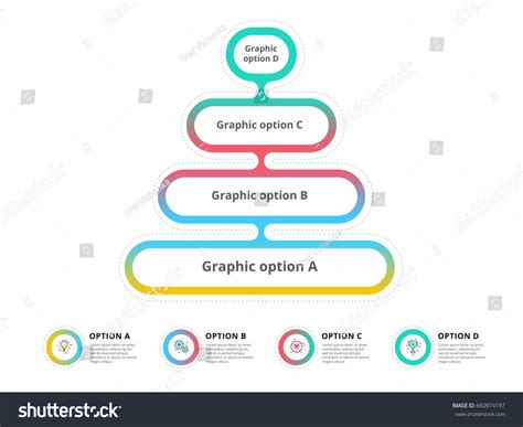layout design using the analytic hierarchy process pyramid 4 step process chart infographics stock vector