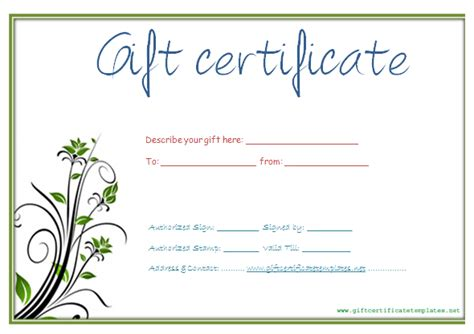 customizable gift certificate template 9 best images of custom gift certificate template free