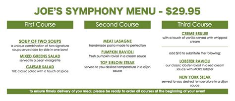 prix fixe menu template introducing a 29 95 fixed price menu for redlands symphony attendees get in and out in time