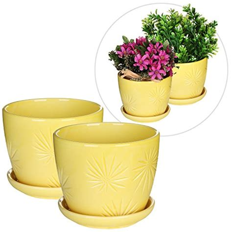decoration ceramic planters patio plants trough planters self set of 2 yellow sunburst design ceramic flower planter