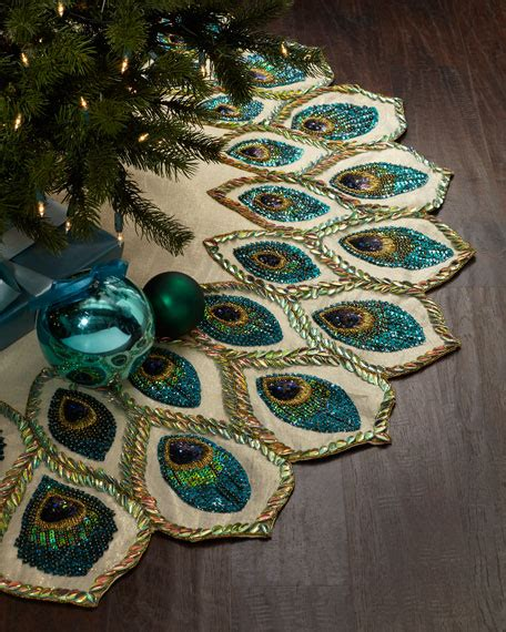 kim seybert peacock christmas tree skirt