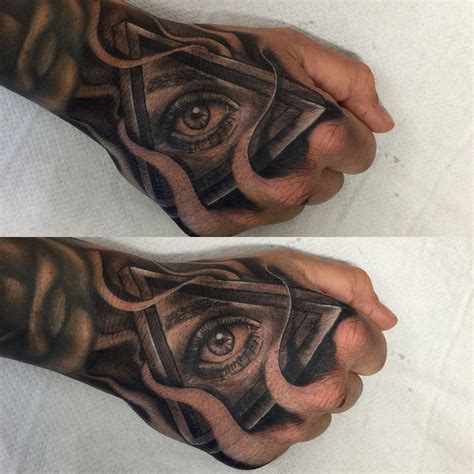 cool hand tattoo designs optical illusion triangle and eye combo