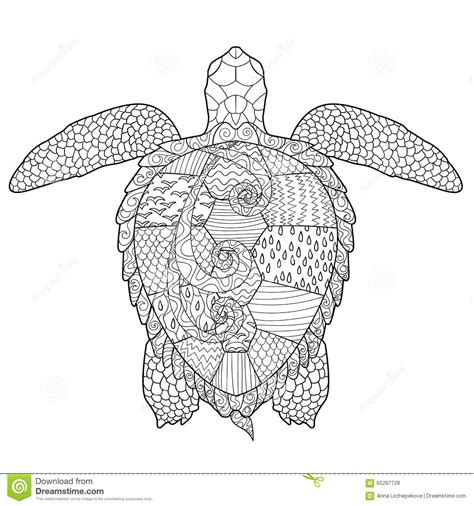 marvelous sea turtles coloring book for adults stress relief coloring book for grown ups books antistress coloring page with turtle stock vector