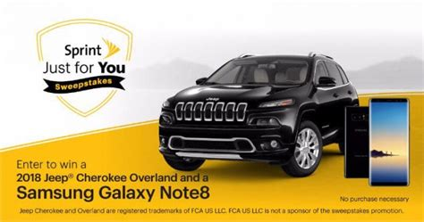 Sprint Sweepstakes - sprint sweepstakes win a 2018 jeep cherokee overland and a samsung note 8 smartphone