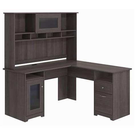 grey l shaped desk bush furniture cabot l shaped desk with hutch in heather