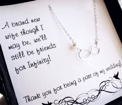 thank you letter for gift in honor of sterling silver infinity necklace bridesmaid gifts pearl