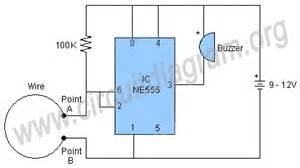 wire or burglar alarm using 555 circuit diagram
