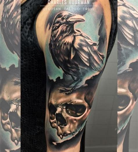 tattoo new school crow new school style colored shoulder tattoo of crow with