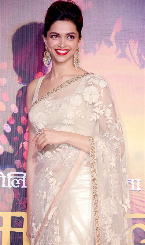 bollywood actress hairstyles in saree deepika padukone at the first look launch of ram leela