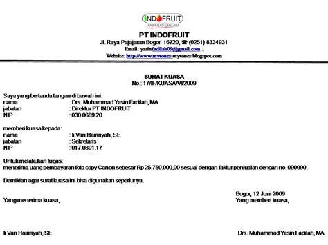 Contoh Surat Perintah Pt Duta Mandiri by Contoh Surat Kuasa Pengambilan Uang Tipsserbaserbi