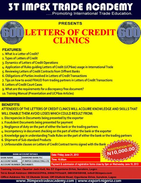 Letter Of Credit Seminars Nigeria Trade Info Portal June 2013