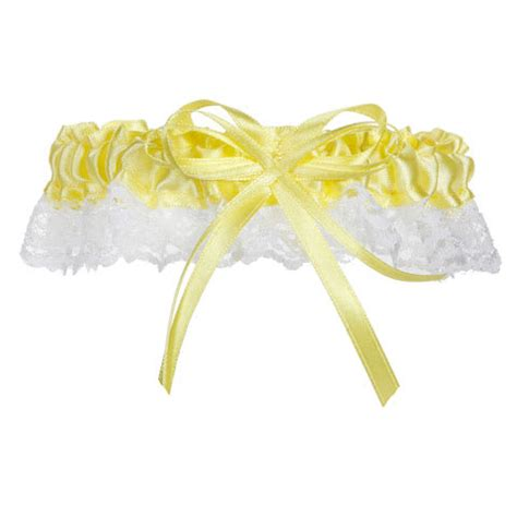 Bow Accent Lace Trim lace trim prom garter neon yellow with bow accent