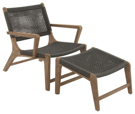 comfy outdoor lounge chairs comfortable wood rope outdoor chair with footrest set of