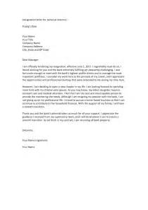Exles Of Resignation Letters For Personal Reasons resignation letter format for personal reason document blogs