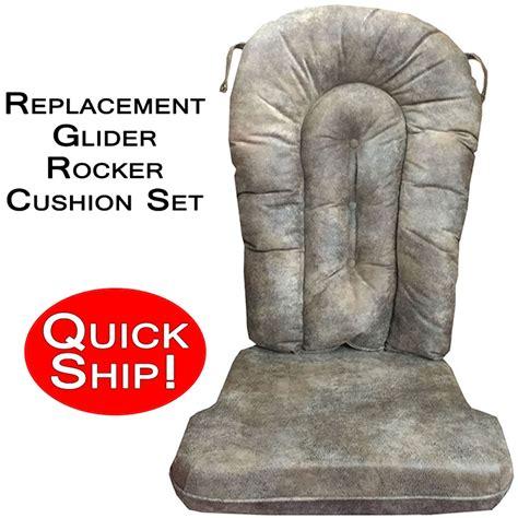 quick ship glider rocker cushion set leather look micro