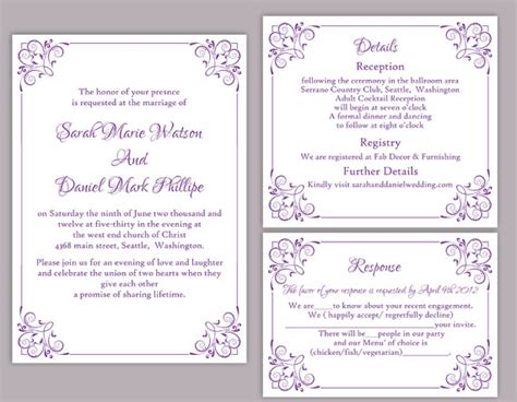 Blank Wedding Invitations Templates Purple