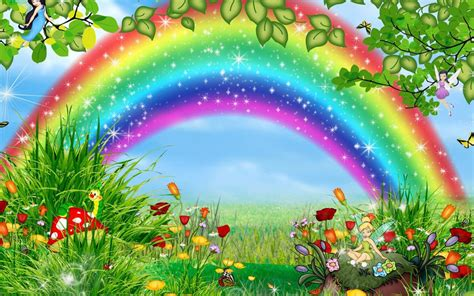 wallpaper rainbow cartoon desktop backgrounds cartoon rainbow hd wallpaper free