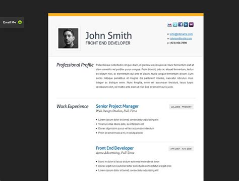 biography css templates 50 professional html resume templates web graphic