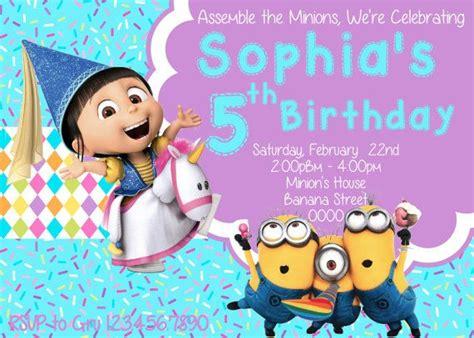 printable birthday invitations despicable me minion invitation girl agnes invitation despicable me