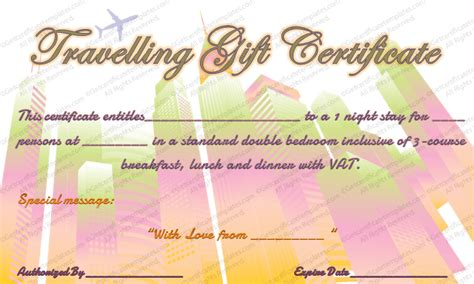 Tour Experience Gift Certificate Template Vacation Gift Certificate Template Free