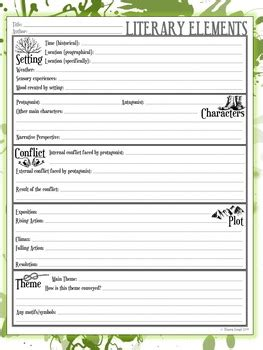Elements Of Literature Worksheets by 5 Literary Elements Worksheets By Stacey Lloyd Tpt