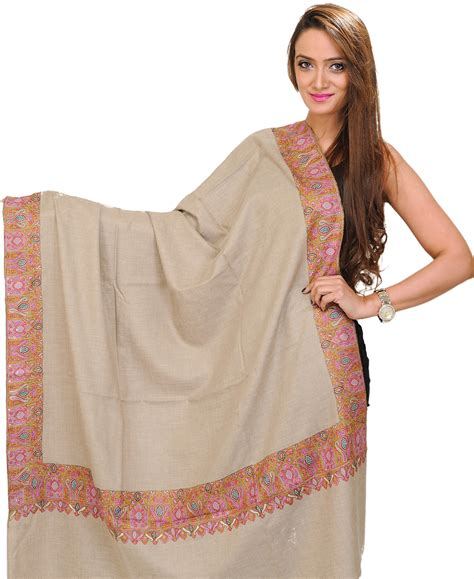 Pashmina Bordir Pashmina 1 light taupe kashmiri pashmina shawl with needle embroidered paisleys on border