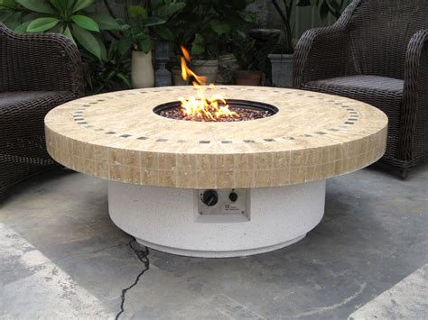 new backyard outdoor gas propane pit w marble mosaic