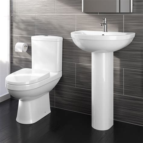 bathroom toilet bathroom toilet wc pan dual flush cistern and basin sink pedestal set suite ebay