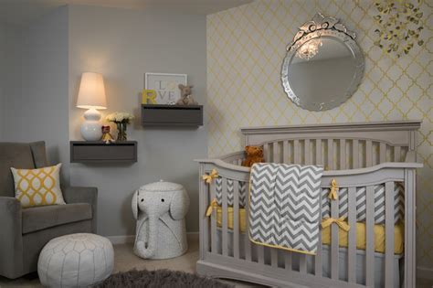 yellow and gray nursery contemporary nursery porters paint fog beckwith interiors