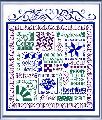 words by pattern let s quilt cross stitch pattern words
