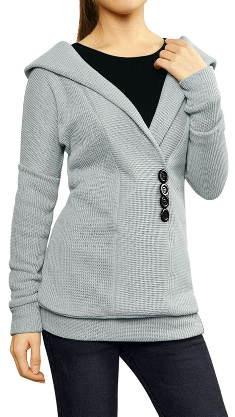 womens drop shoulder long sleeve hooded button decor