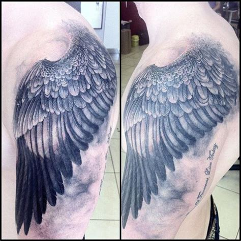 realistic wing tattoo shoulder realistic wings by immortal ink