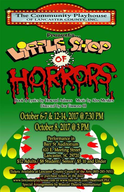 Lancaster County Sc Property Tax Records Community Playhouse Of Lancaster County Presents Shop Of Horrors Lancaster