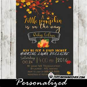 pumpkin fall baby shower invitation personalized cupcakemakeover