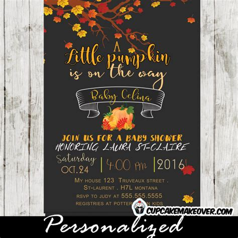 Fall Baby Shower Invites by Pumpkin Fall Baby Shower Invitation Personalized