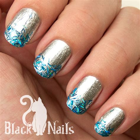 easy nail art black and silver blue and silver nail art how you can do it at home