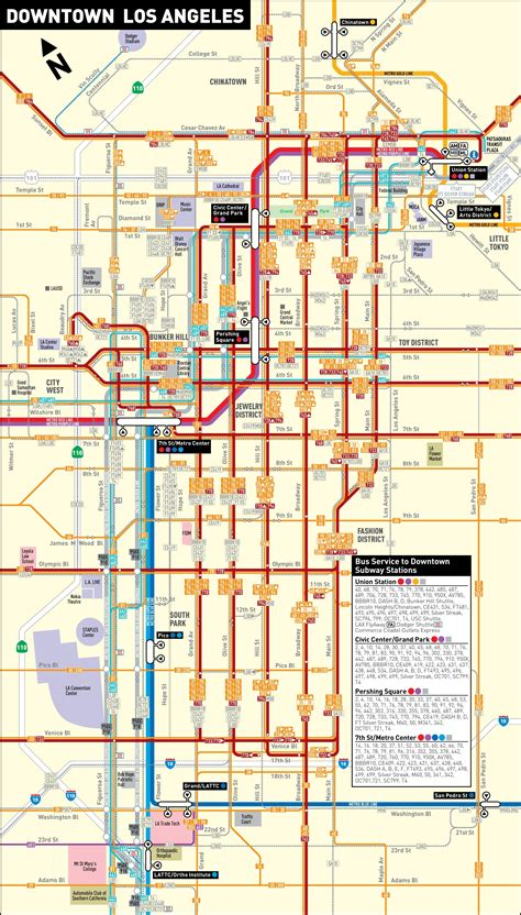 los angeles on map of usa los angeles downtown transport map