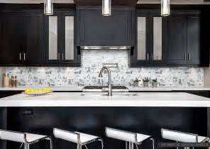Modern Kitchen Countertops And Backsplash by Modern Espresso Cabinet White Glass Metal Backsplash Tile