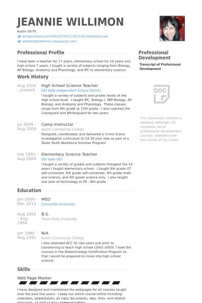 resume for social science teacher middle school teacher