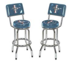 ford bar stool with back details about ford mustang chrome black tribar running