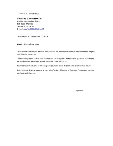 Exemple Lettre De Motivation Université Pdf Demande De Stage Oncf