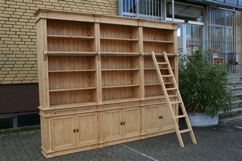 bibliothek massivholz 300 cm mit leiter m 246 bel - Bibliothek Massivholz