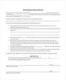 Cleaning Contract Templates by Sle Cleaning Contract Agreement 6 Exles In Word Pdf