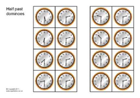 printable clock dominoes half past times primary teaching resources and printables