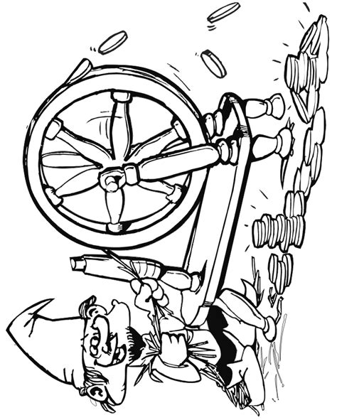 rumpelstiltskin coloring page spinning straw into gold