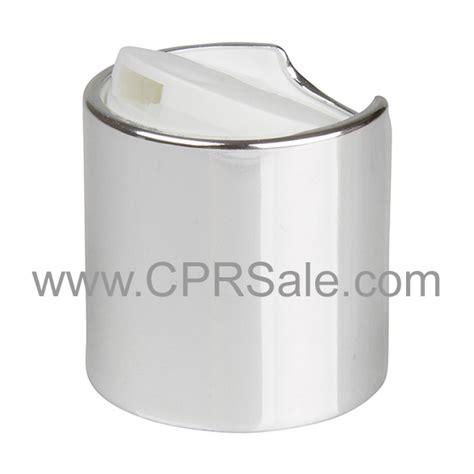 cap 24 410 disc cap shiny silver collar with white
