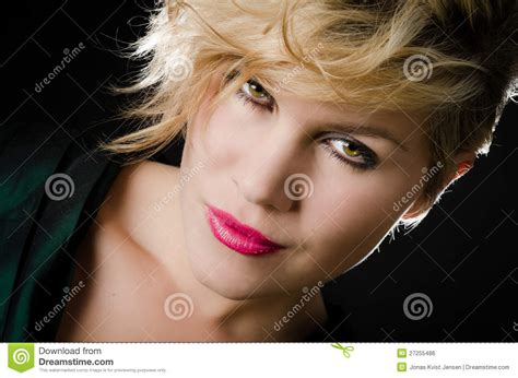 blonde girl with red lipstick blonde girl with red lipstick royalty free stock image