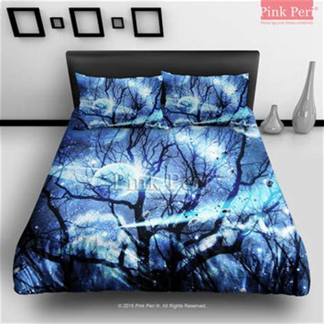 Sleeping With Sirens Comforter by Woods Silhouette Blue Nebula Galaxy From Pink Peri