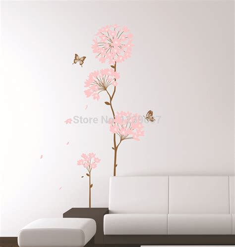 removeable wall stickers pink hydrangea flower tree and butterflies wall decals living room bedroom removable wall